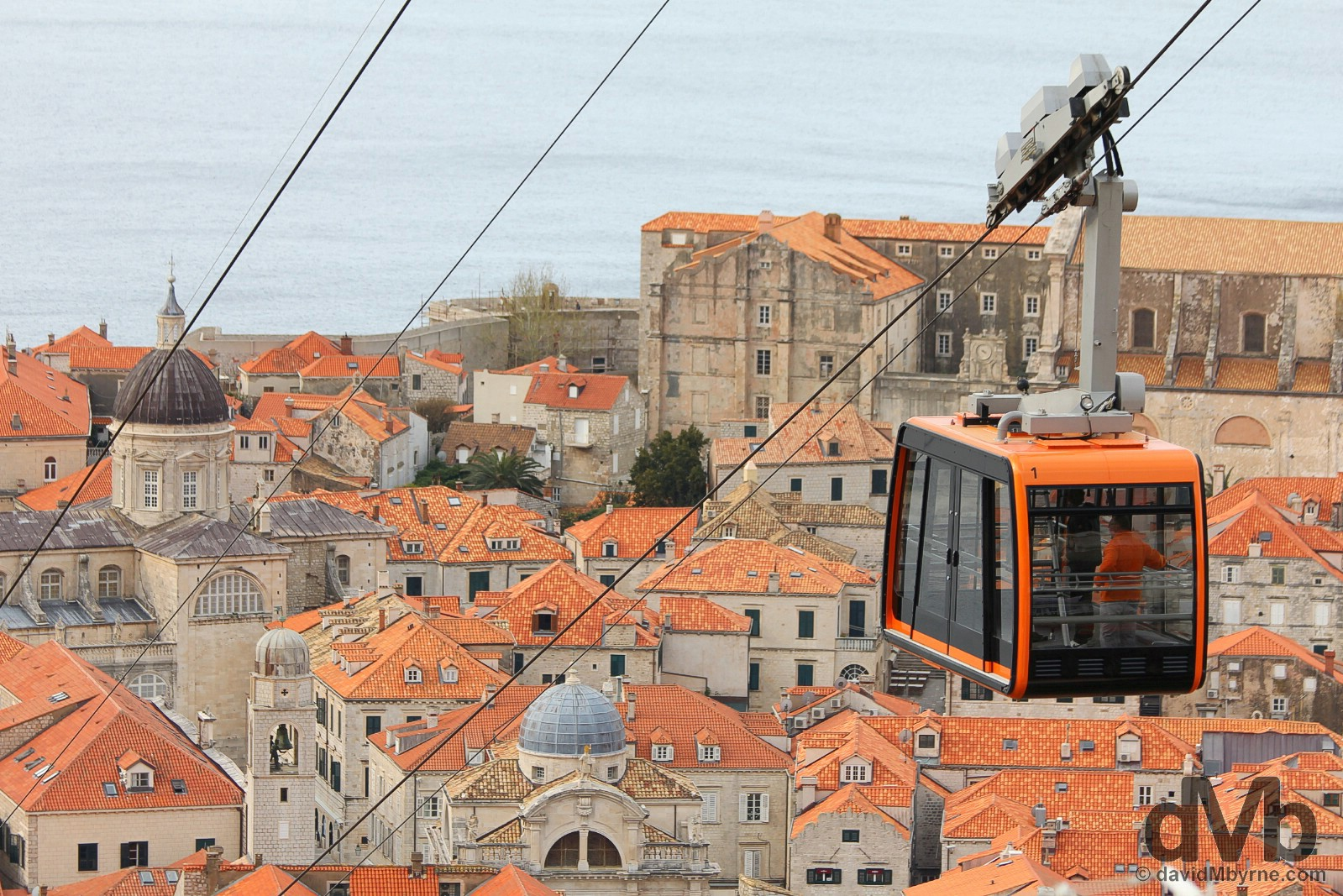 The Dubrovnik Cable Car over the rooftops of Old Town, Dubrovnik, Croatia. April 7, 2015.