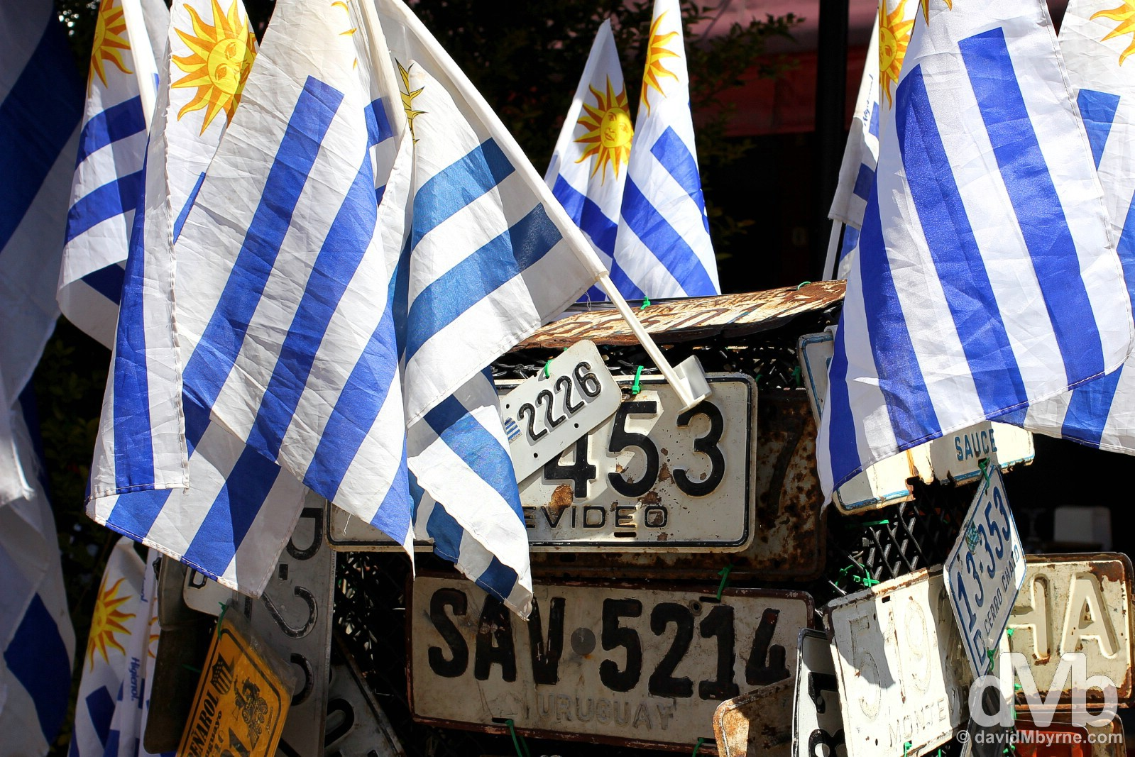 Flags on the streets of Montevideo, Uruguay. September 18, 2015.