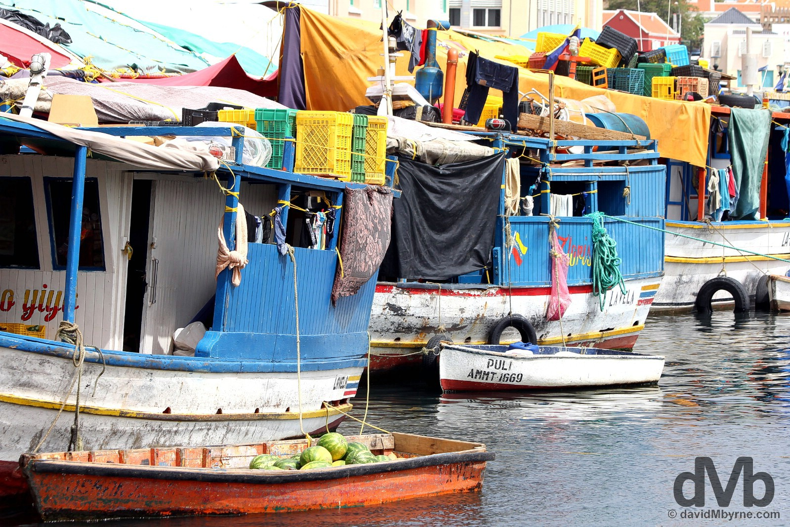 The Floating market in Willemstad, Curacao, Lesser Antilles. June 20, 2015.