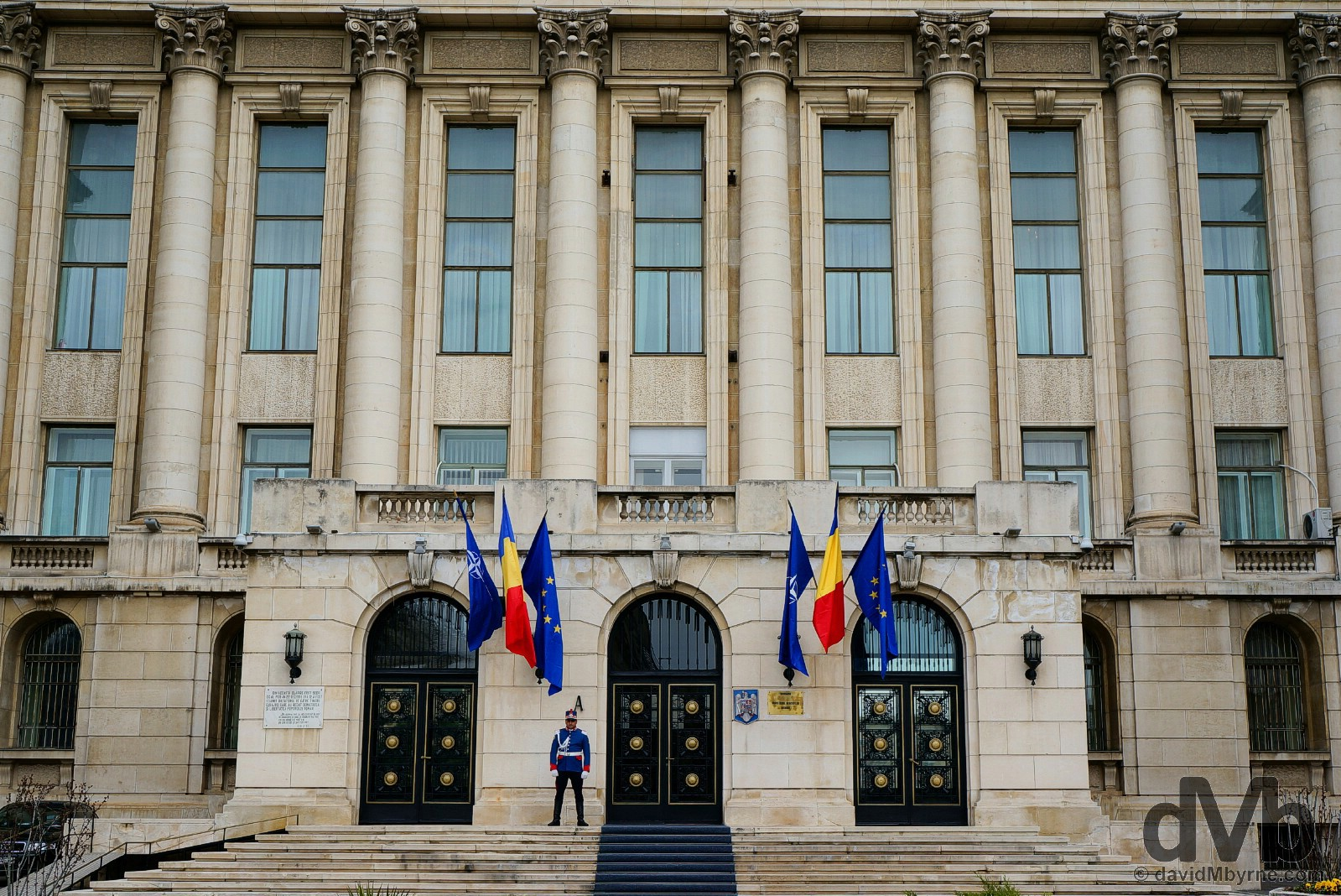 Outside the Former Central Committee Of The Communist Party Building off Piata Revolutiei (Revolution Square), Bucharest, Romania. April 1, 2015.