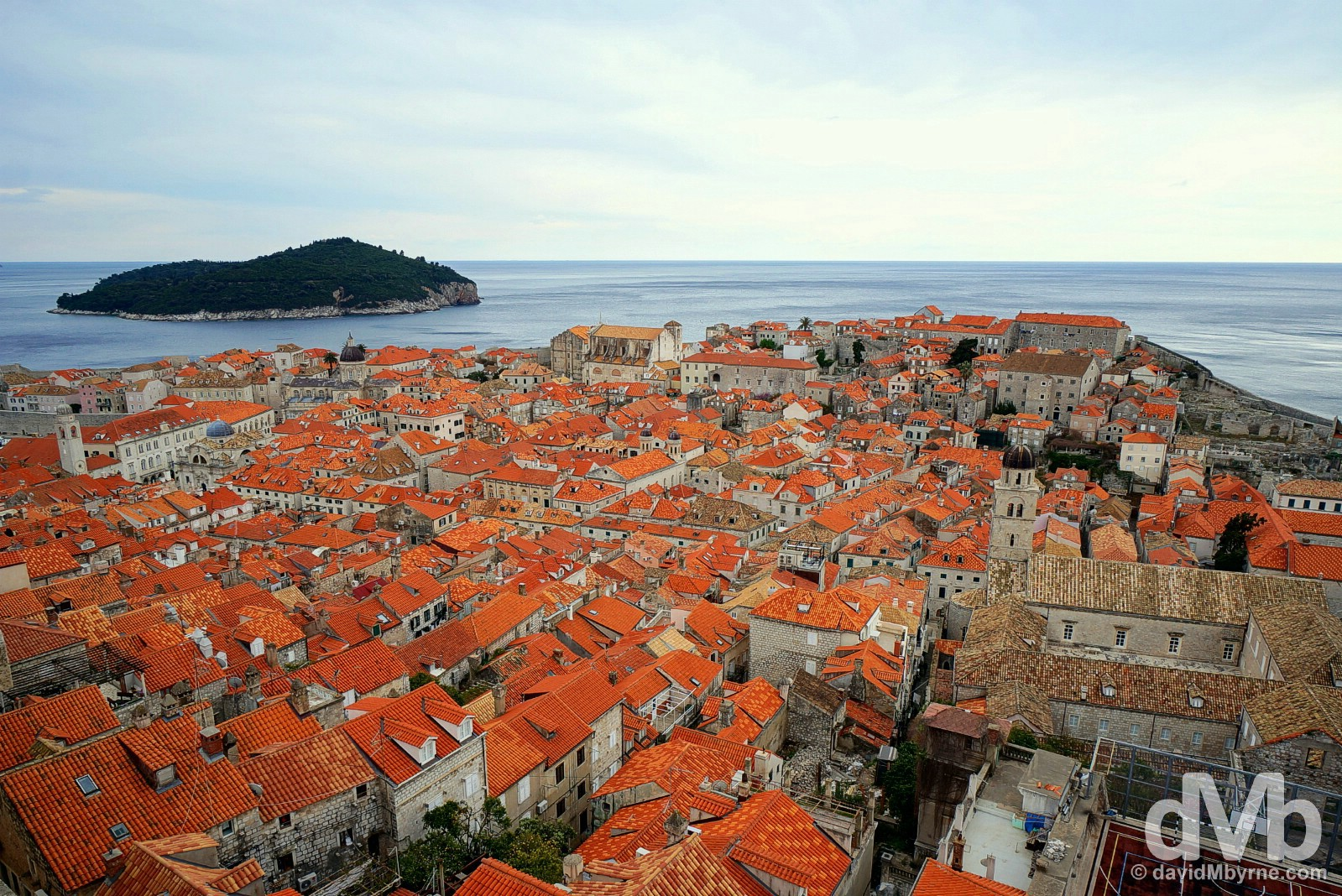 Old Town Dubrovnik as seen from the Old Town walls. Dubrovnik, Croatia. April 7, 2015.