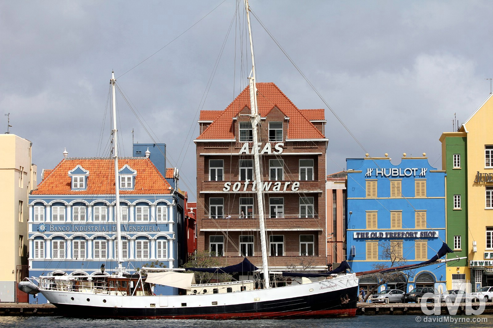 Buildings on Handels Kade lining Sint Annabaai (St Anna Bay) in Willemstad, Curacao, Lesser Antilles. June 20, 2015.