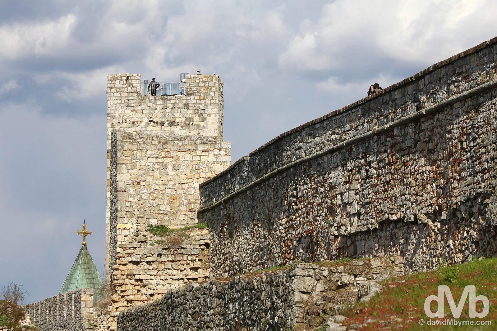 Atop the walls of the Kalemegdam Citadel overlooking the Danube River in Belgrade, Serbia. April 3, 2015.