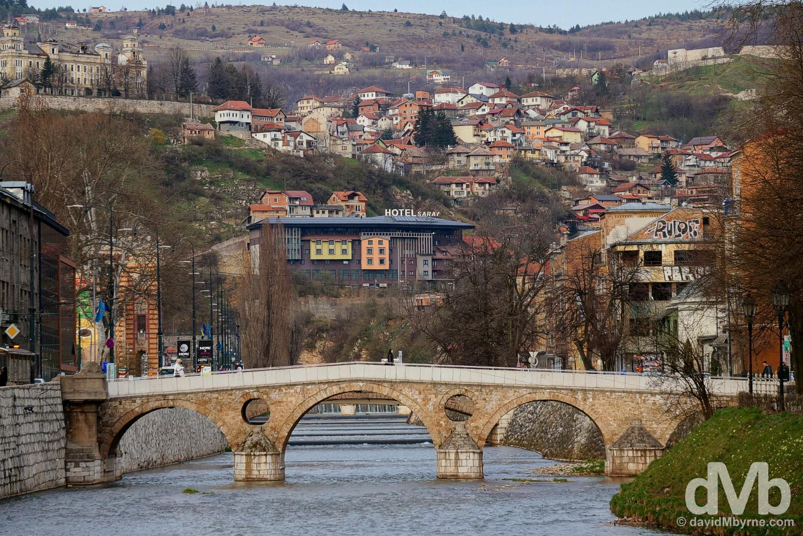 The Latin Bridge crossing the Miljacka River in Sarajevo, Bosnia and Herzegovina. April 4, 2015.