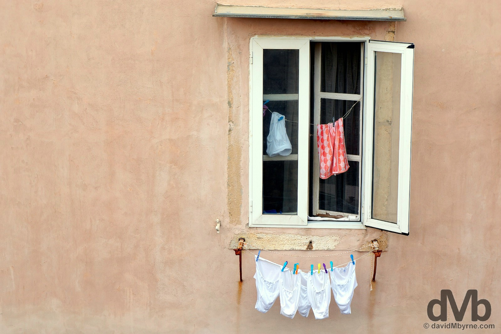 Laundry in the Old Town of Dubrovnik, Croatia. April 7, 2015.