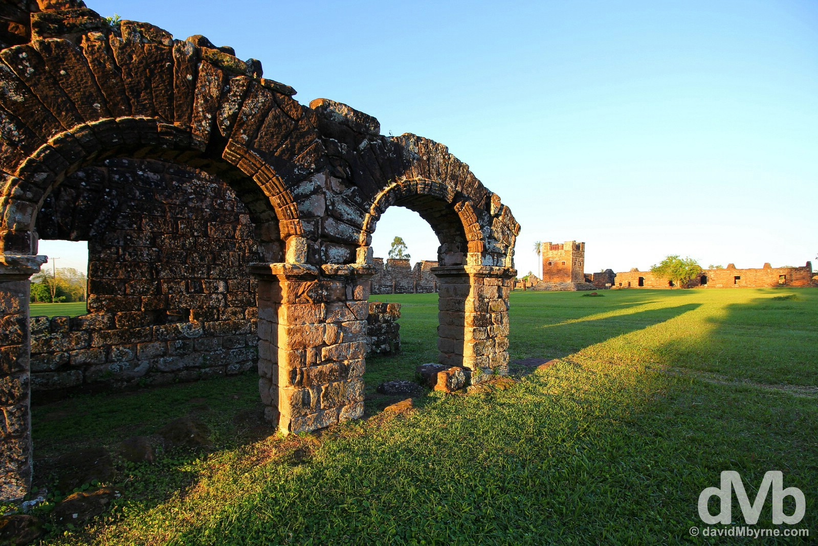 Sunset in the grounds of the UNESCO-listed Jesuit Mission of La Santísima Trinidad de Paraná, southern Paraguay. September 14, 2015.