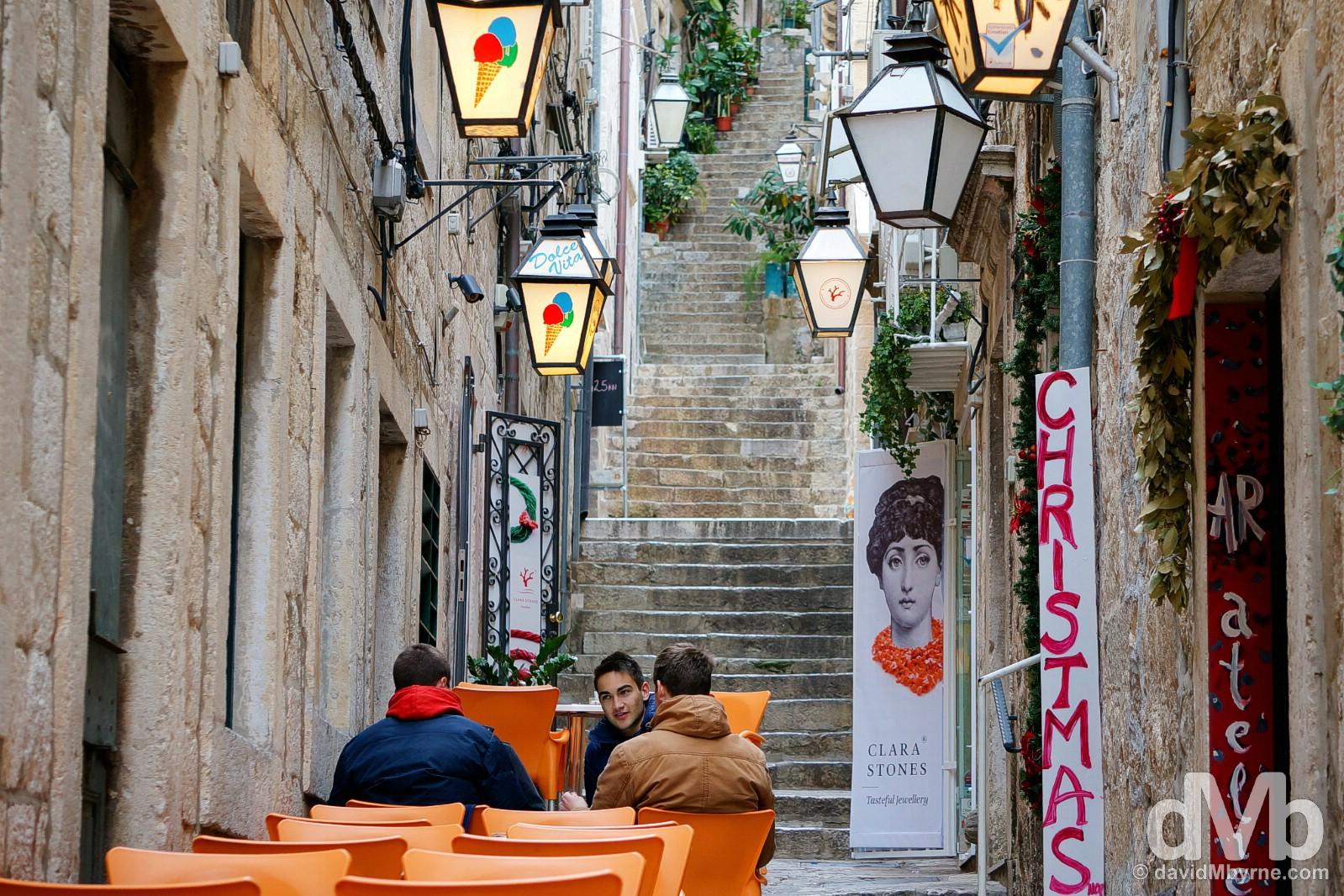 Naljeskoviceva ul, Old Town, Dubrovnik, Croatia. April 7, 2015.