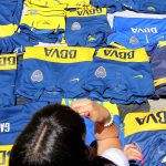 Boca Juniors jerseys for sale outside the Estadio Alberto J. Armando, aka La Bombonera, La Boca, Buenos Aires, Argentina. December 6, 2015.