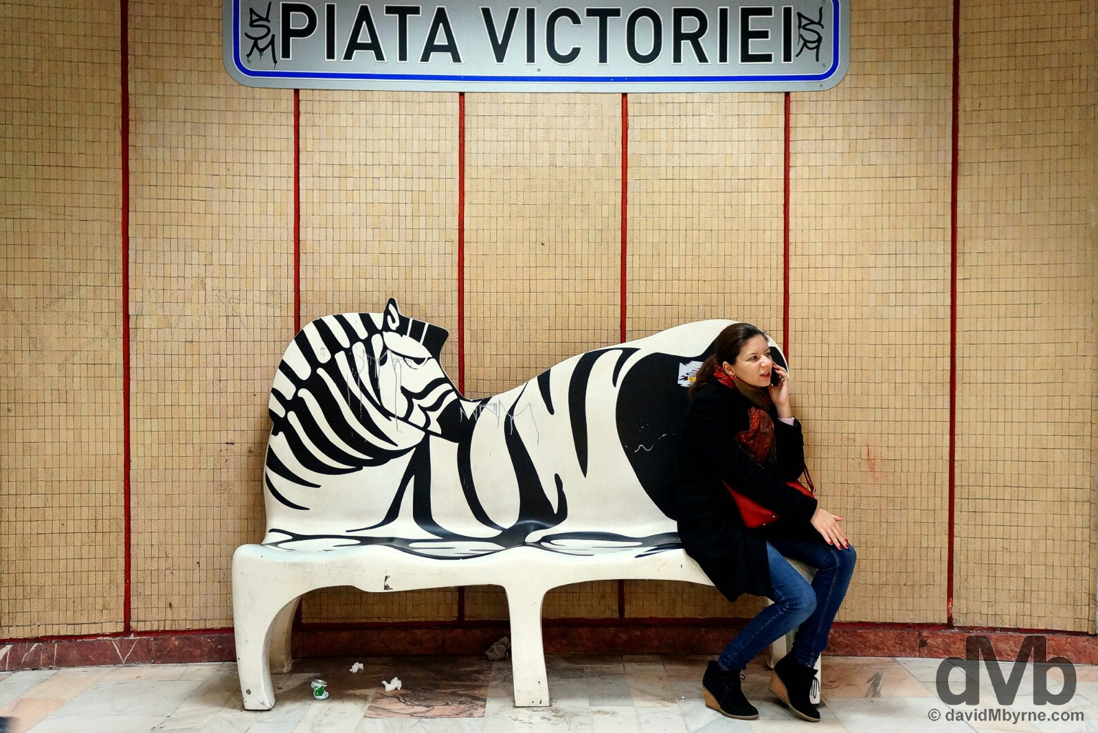 On the platform of Piata Victoriei (Victory Square) underground station in Bucharest, Romania. April 1, 2015.