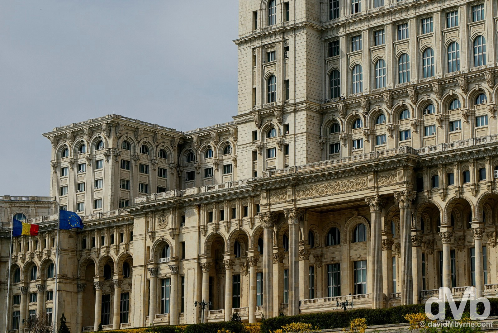 Palace of Parliament, the world's second-largest building. Bucharest, Romania. April 1, 2015.