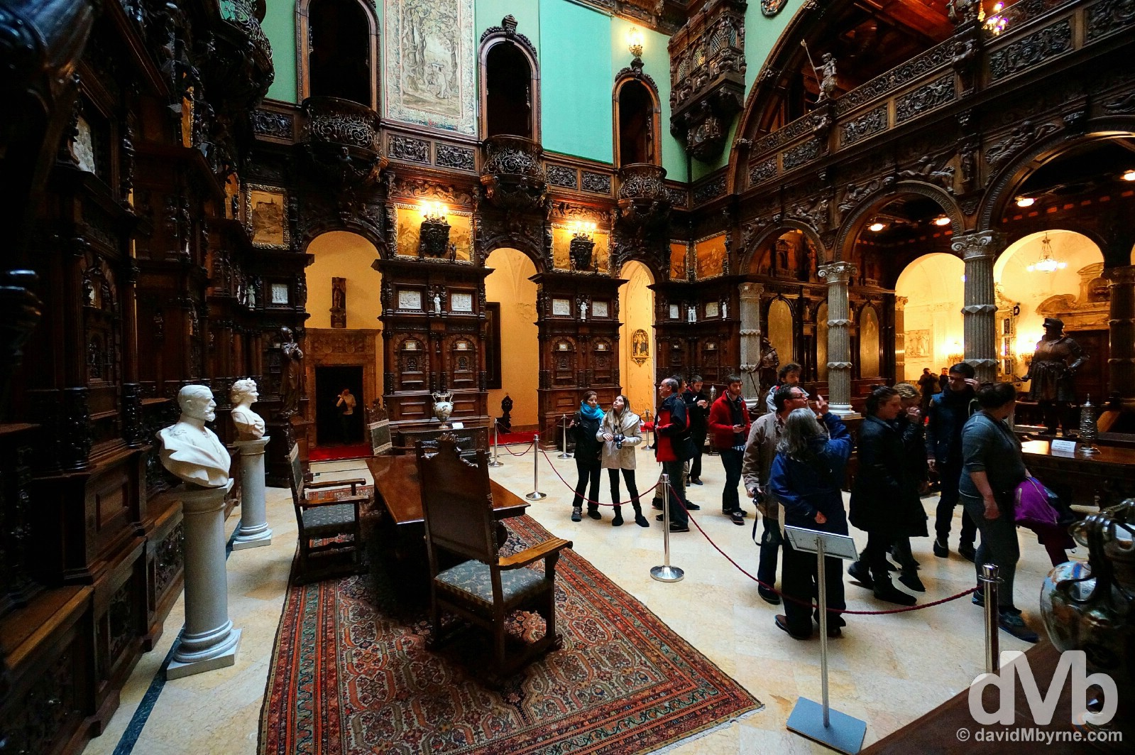 Touring Peles Castle, Romania. April 2, 2015.