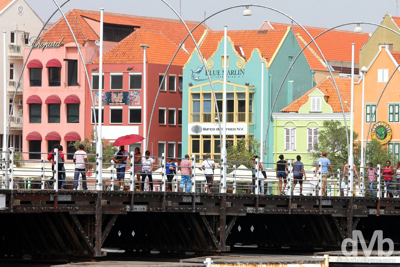 The floating Queen Emma Bridge spanning Sint Annabaai (St Anna Bay) in Willemstad, Curacao, Lesser Antilles. June 19, 2015.
