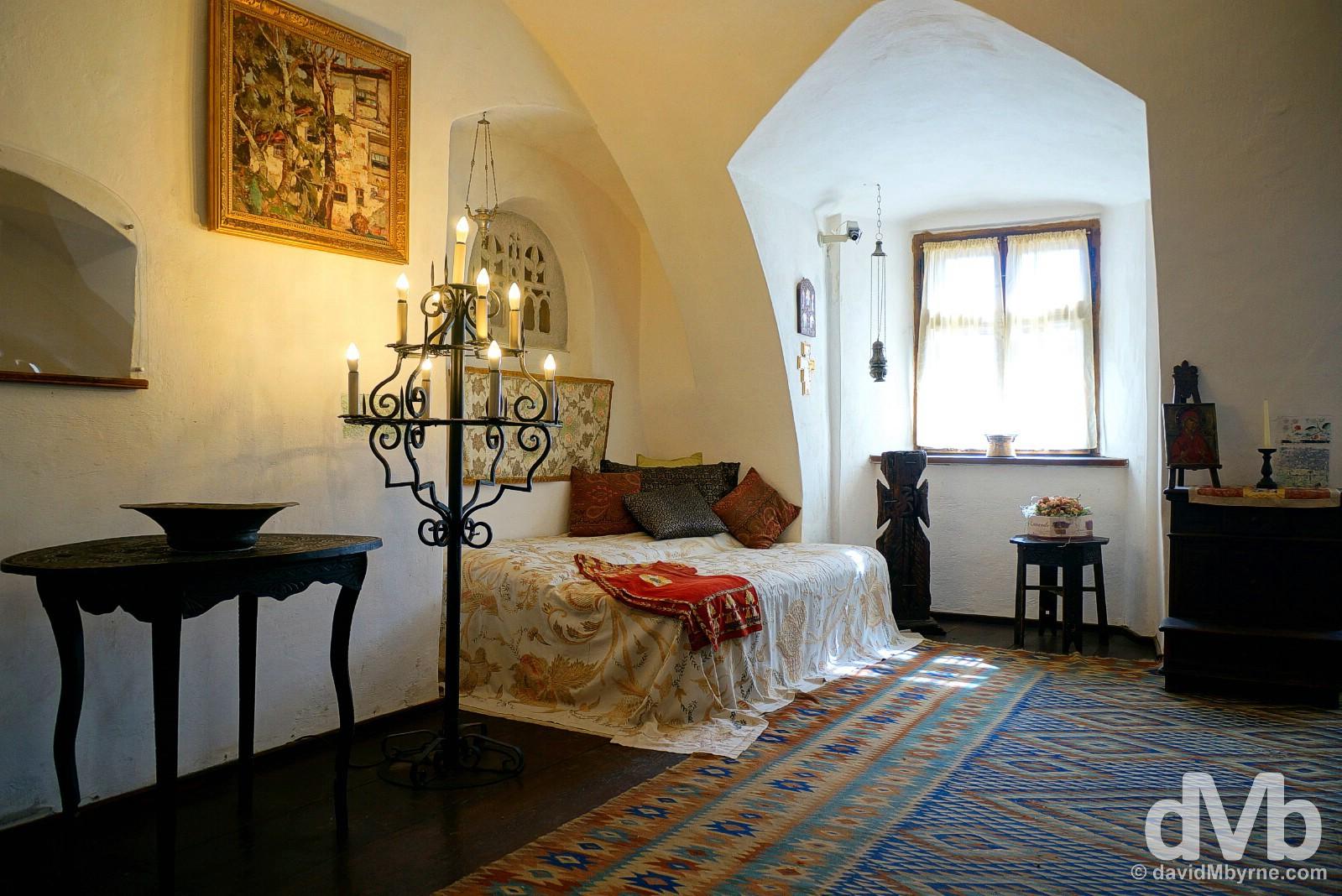 The Queen Mary of Romania bedroom in Bran Castle, Bran, Transylvania, Romania. April 2, 2015.