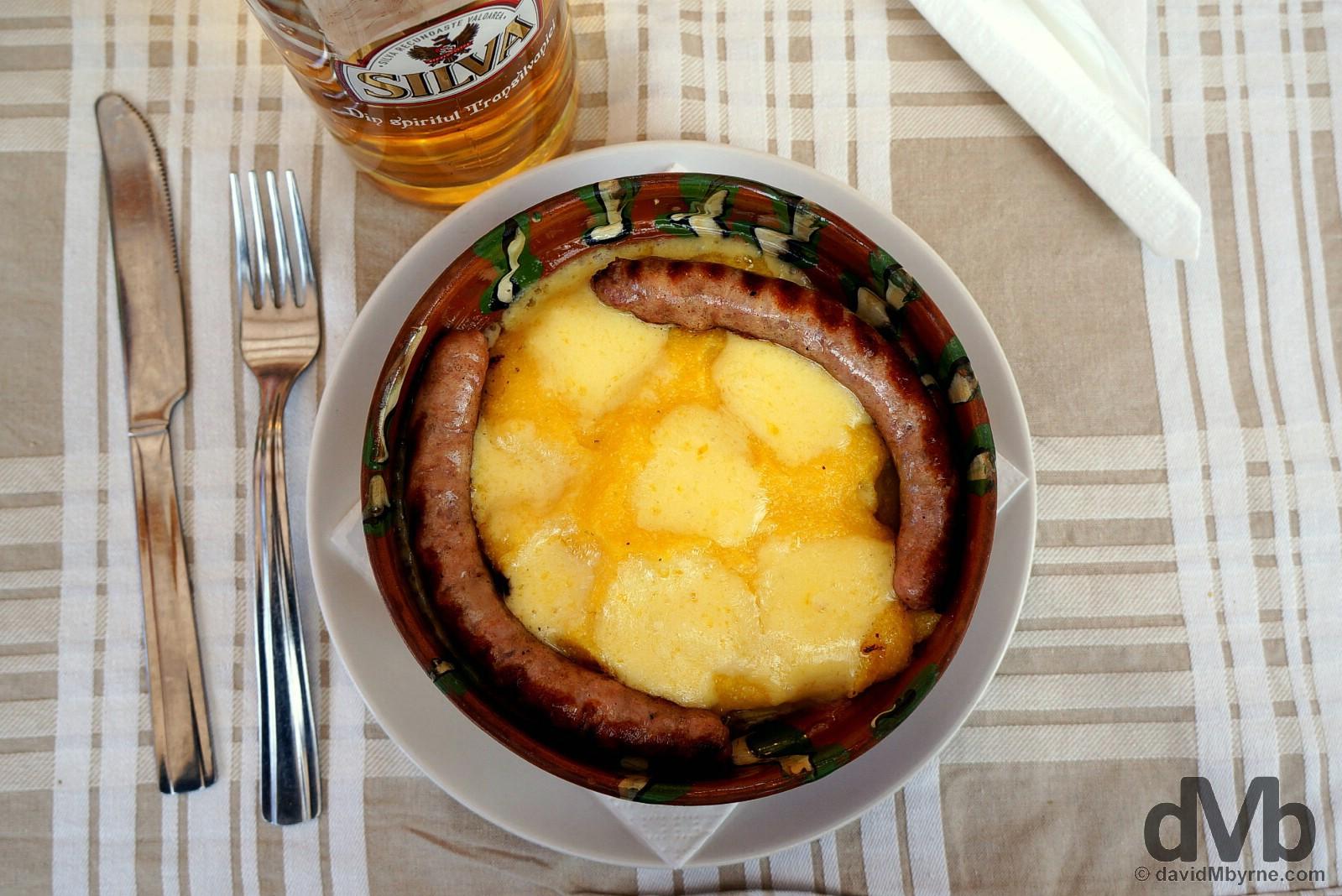 Traditional Romanian food in Bran, Romania. April 2, 2015.
