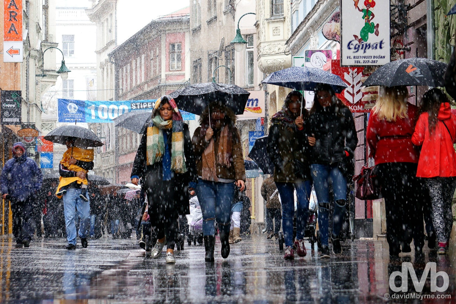 Snow on Ferhadija, central Sarajevo, Bosnia and Herzegovina. April 5, 2015.