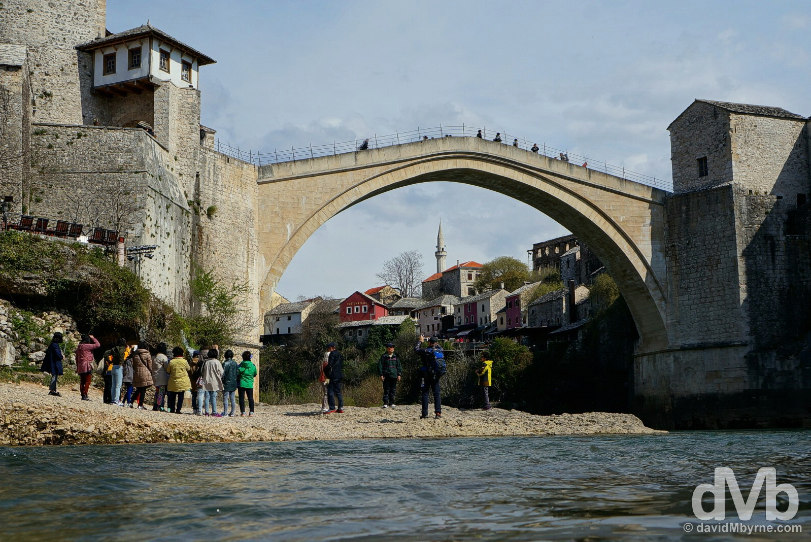 The iconic Stari Most (Old Bridge) over the Neretva River in Mostar, Bosnia & Herzegovina. April 6, 2015.
