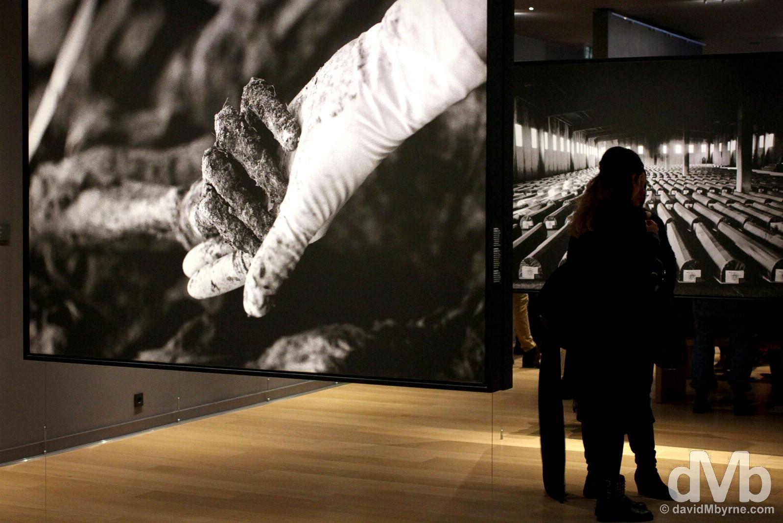 Srebrenica Massacre of the Bosnian War exhibition in Sarajevo, Bosnia & Herzegovina. April 5, 2015.