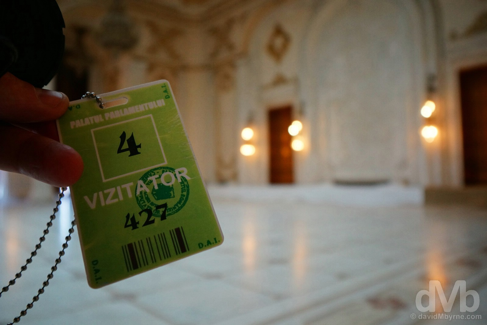 My credentials. Touring the Palace of Parliament in Bucharest, Romania. April 1, 2015.