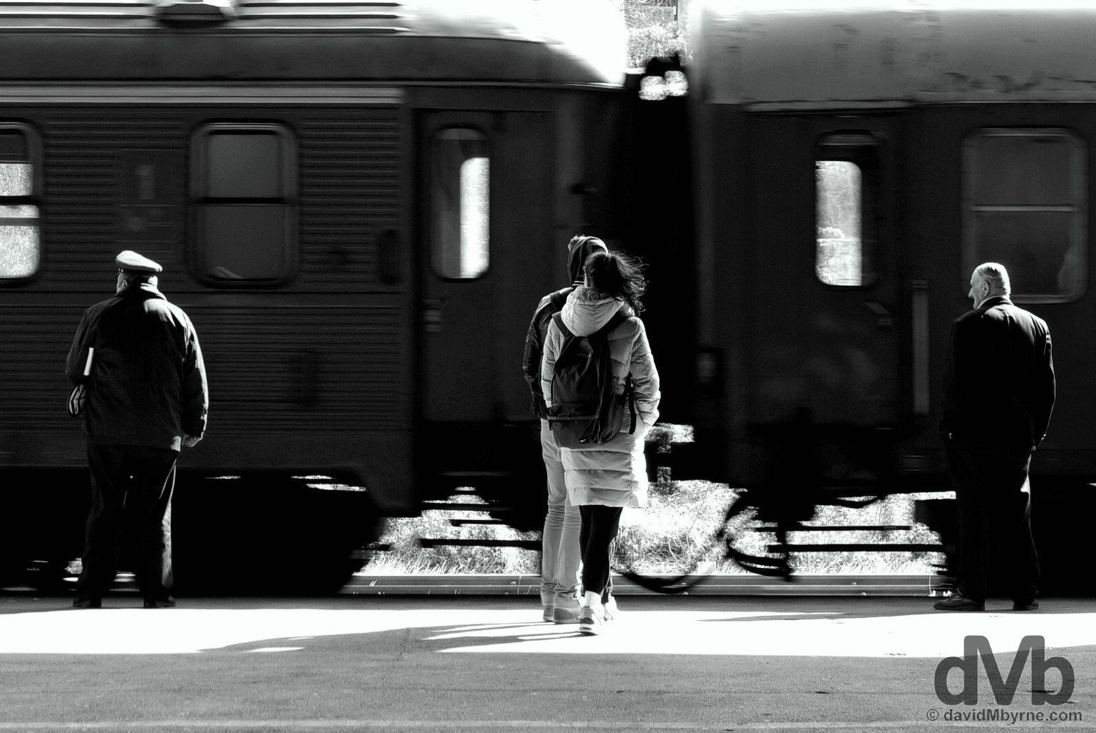 On the platform of Mostar train station, Bosnia & Herzegovina. April 6, 2015.