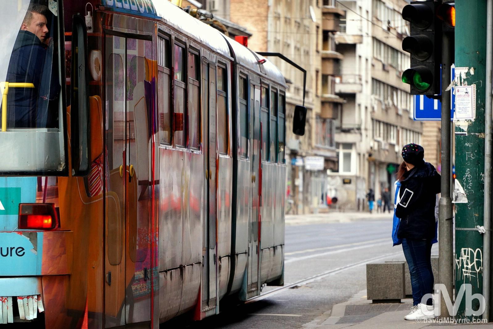 Trams in Sarajevo, Bosnia and Herzegovina. April 4, 2015.