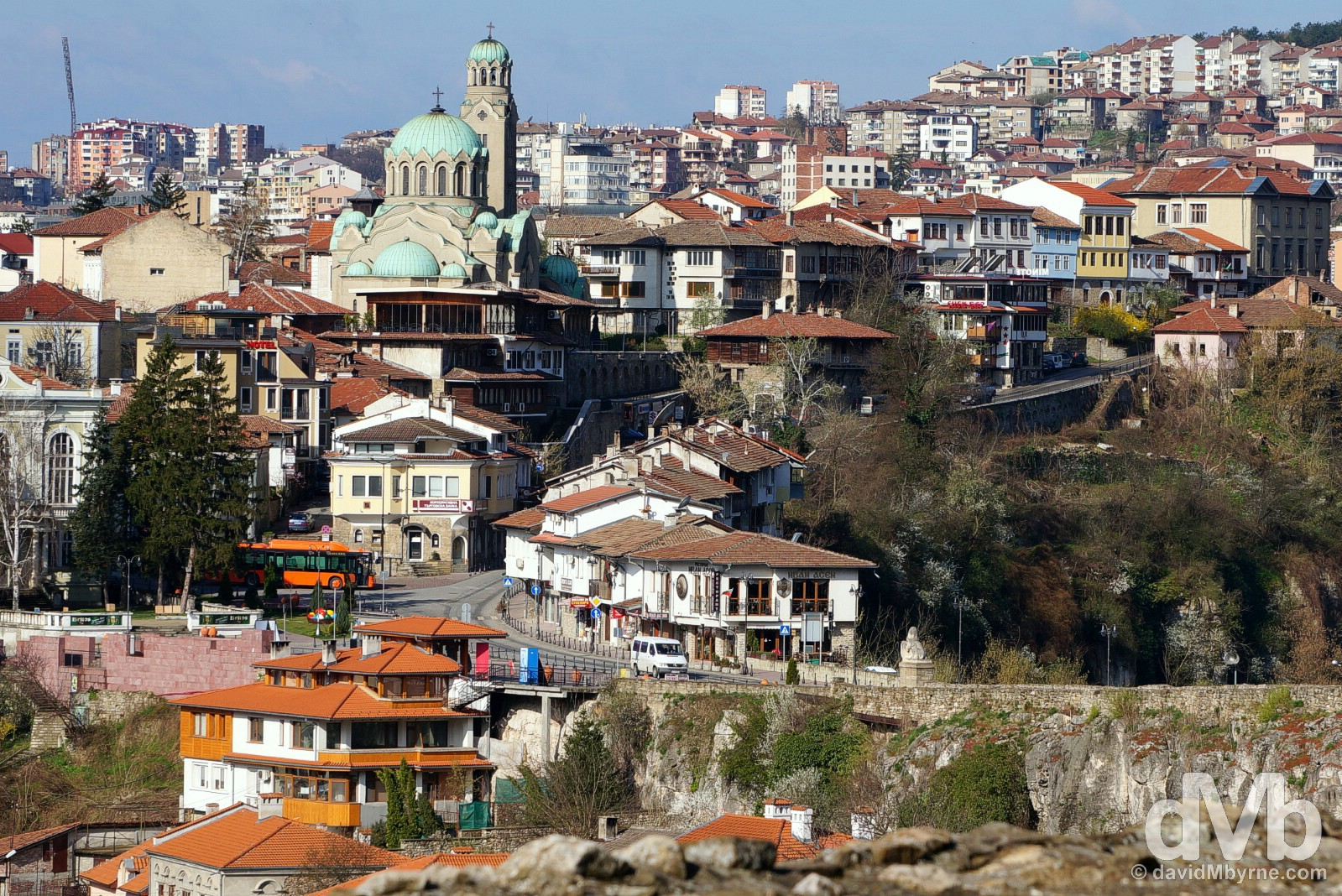 Veliko Tarnovo as seen from the walls of the Tsarevets Fortress. Veliko Tarnovo, Bulgaria. March 31, 2015.