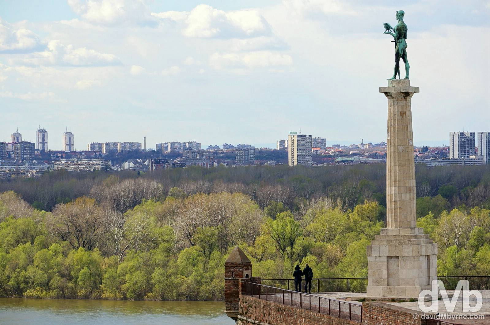 The Victor Monument of the Kalemegdam Citadel overlooking the Danube River in Belgrade, Serbia. April 3, 2015.