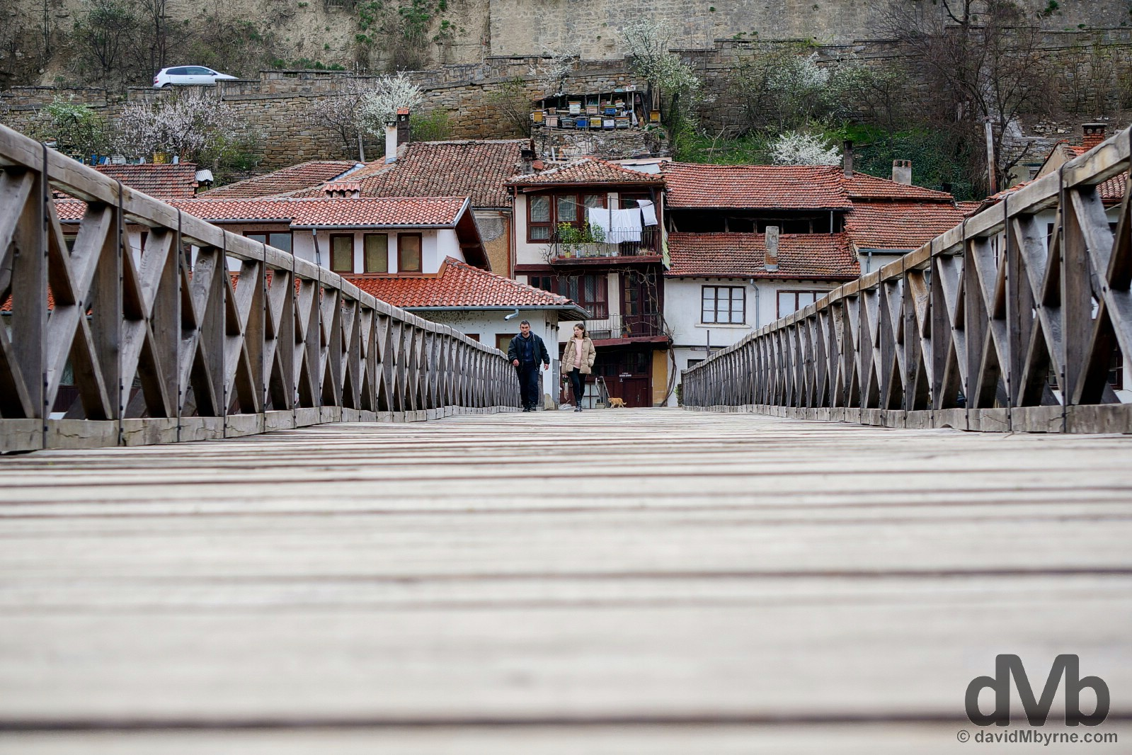 Vladishki most (Bishop's Bridge) crossing the Yantra River in Veliko Tarnovo, Bulgaria. March 30, 2015.