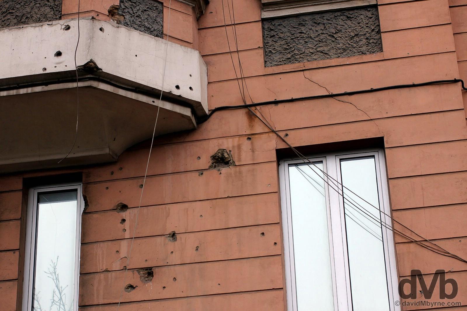 Bosnian War scars on the streets of Sarajevo, Bosnia & Herzegovina. April 5, 2015.