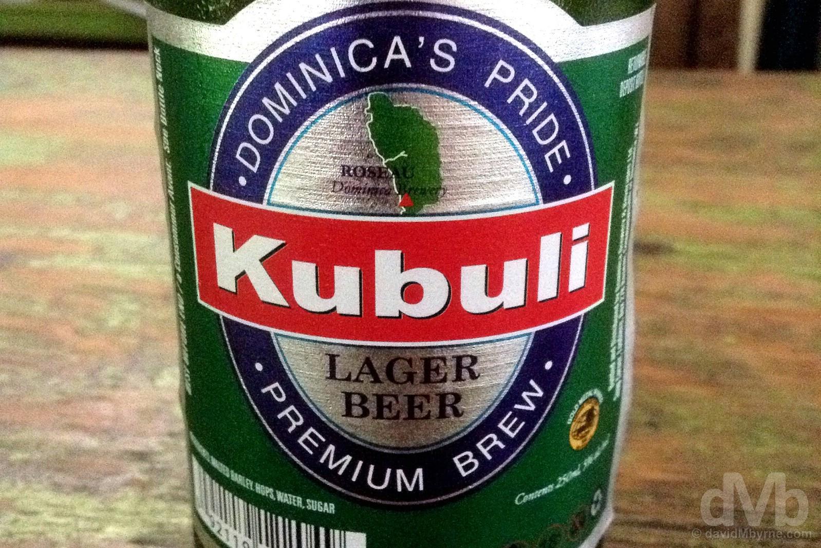 Kubuli beer, Mamaj's, Dominica, Lesser Antilles. June 10, 2015.