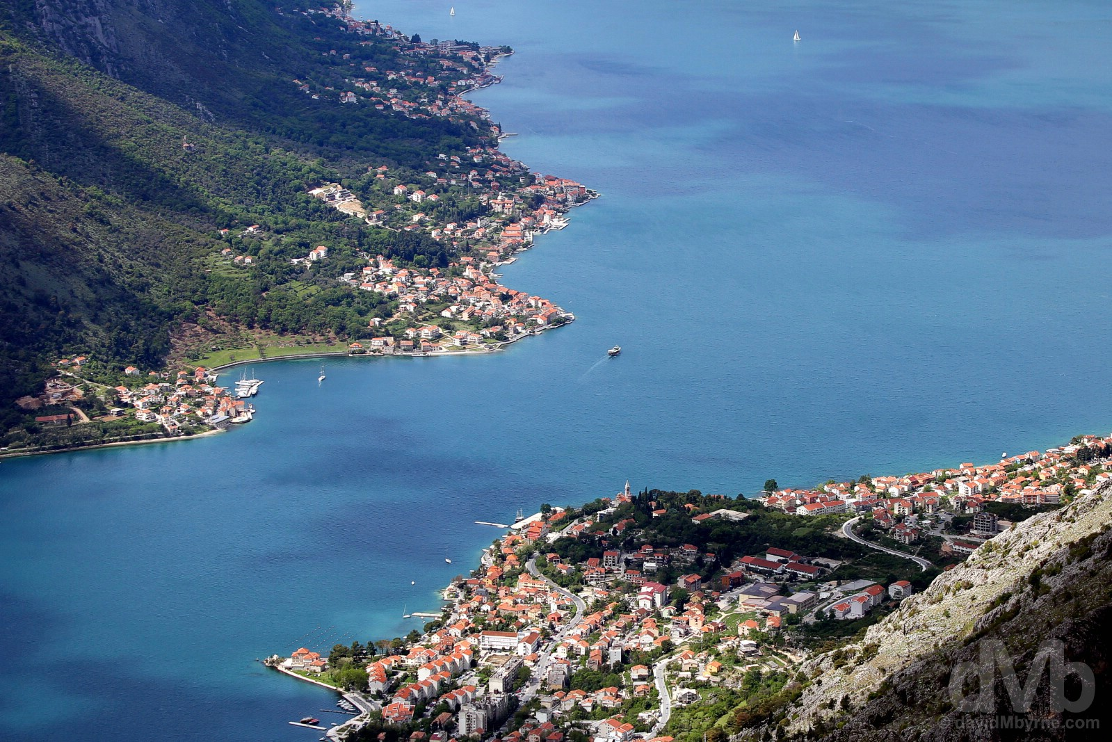 A portion of the Bay of Kotor as seen from the winding road above Kotor, Montenegro. April 20, 2017.