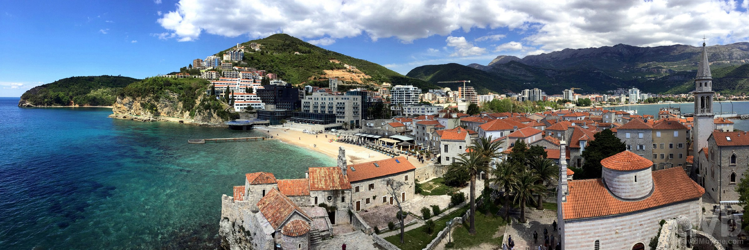 Budva as seen from the walls of the Citadela Fortress. Budva, Montenegro. April 21, 2017.