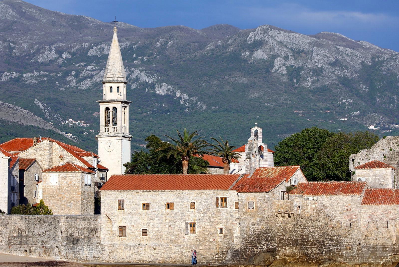 Outside the walls of Stari Grad (Old Town), Budva, Montenegro. April 20, 2017.