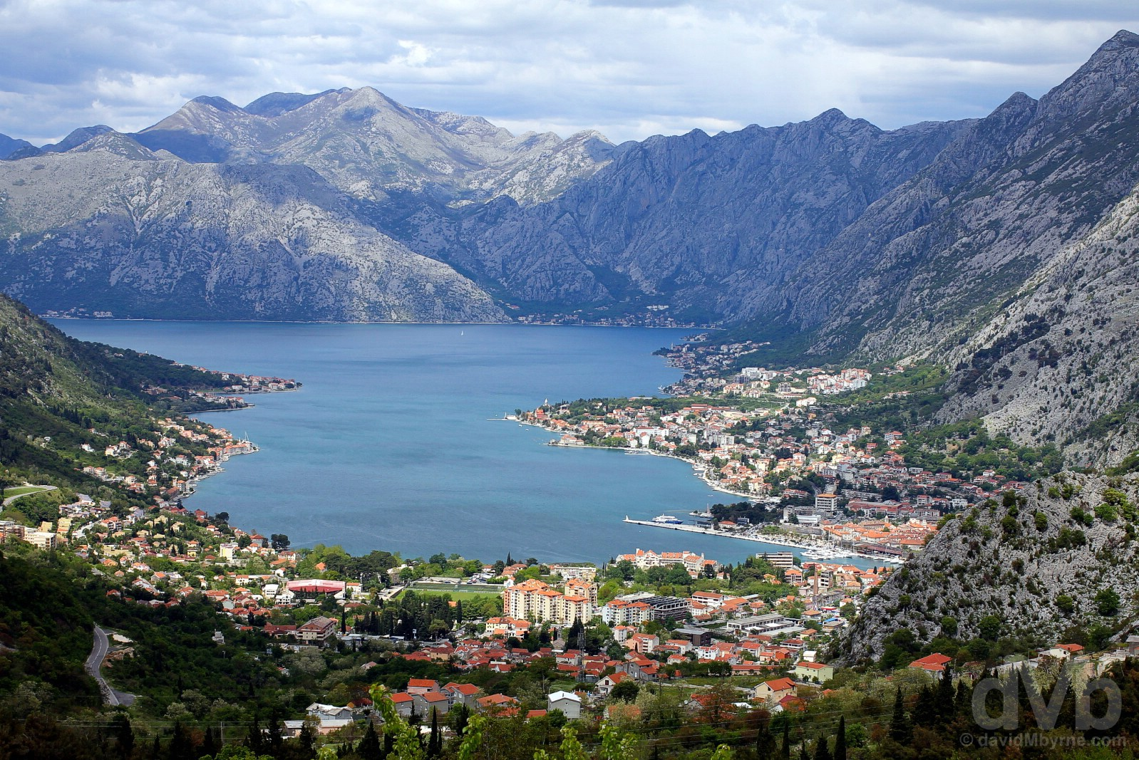 Kotor & the Bay of Kotor as seen from the road to Lovcen National Park, Montenegro. April 20, 2017.