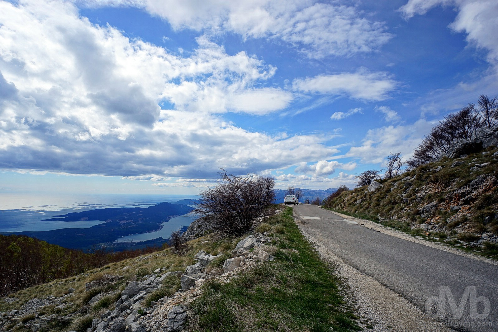 The Adriatic Coast & the Bay of Kotor as seen from the road to Njegos Mausoleum in Lovcen National Park, Montenegro. April 20, 2017.