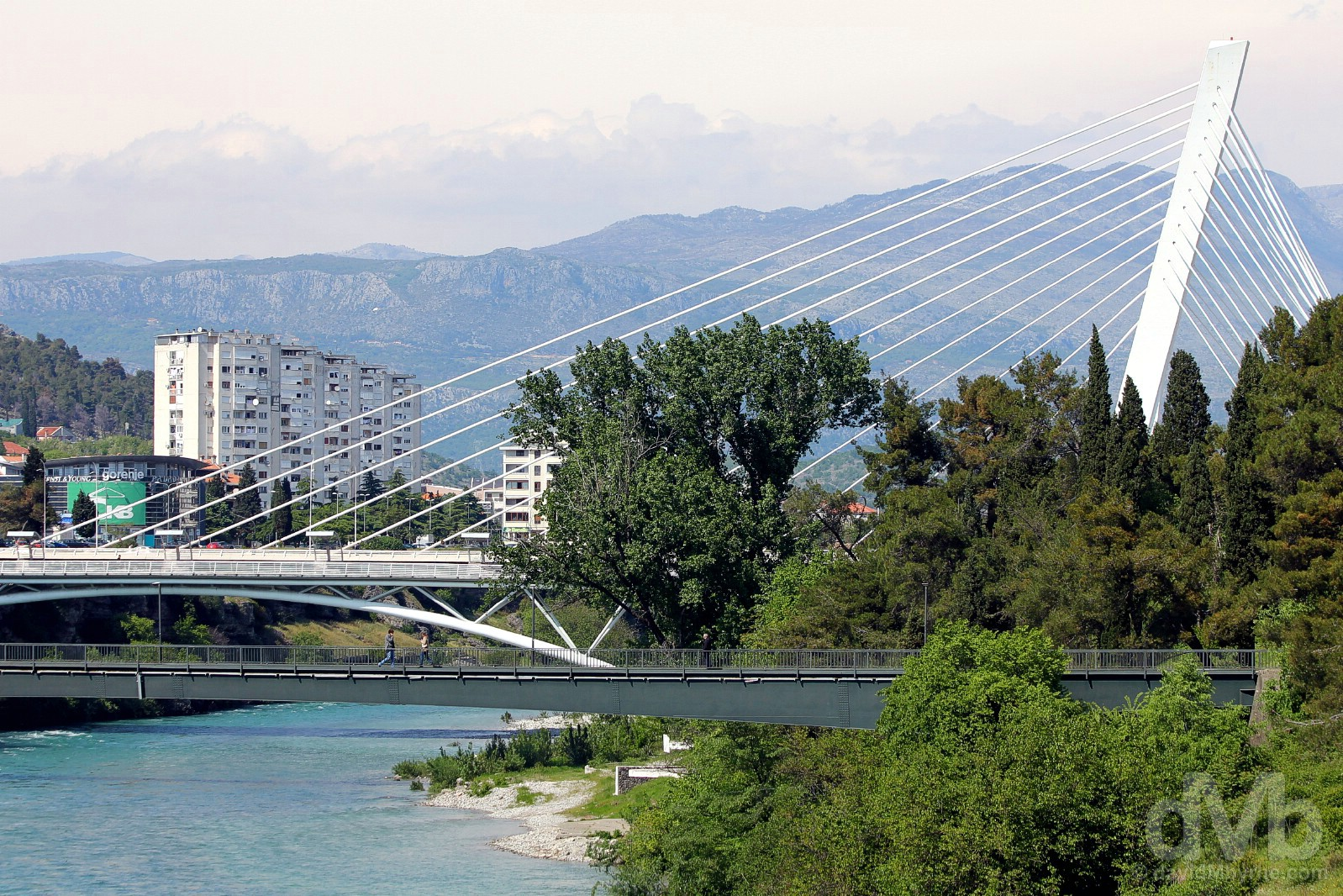 The cable-stayed Moskovski Most (Millennium Bridge) over the Moraca River in Podgorica, Montenegro. April 21, 2017.