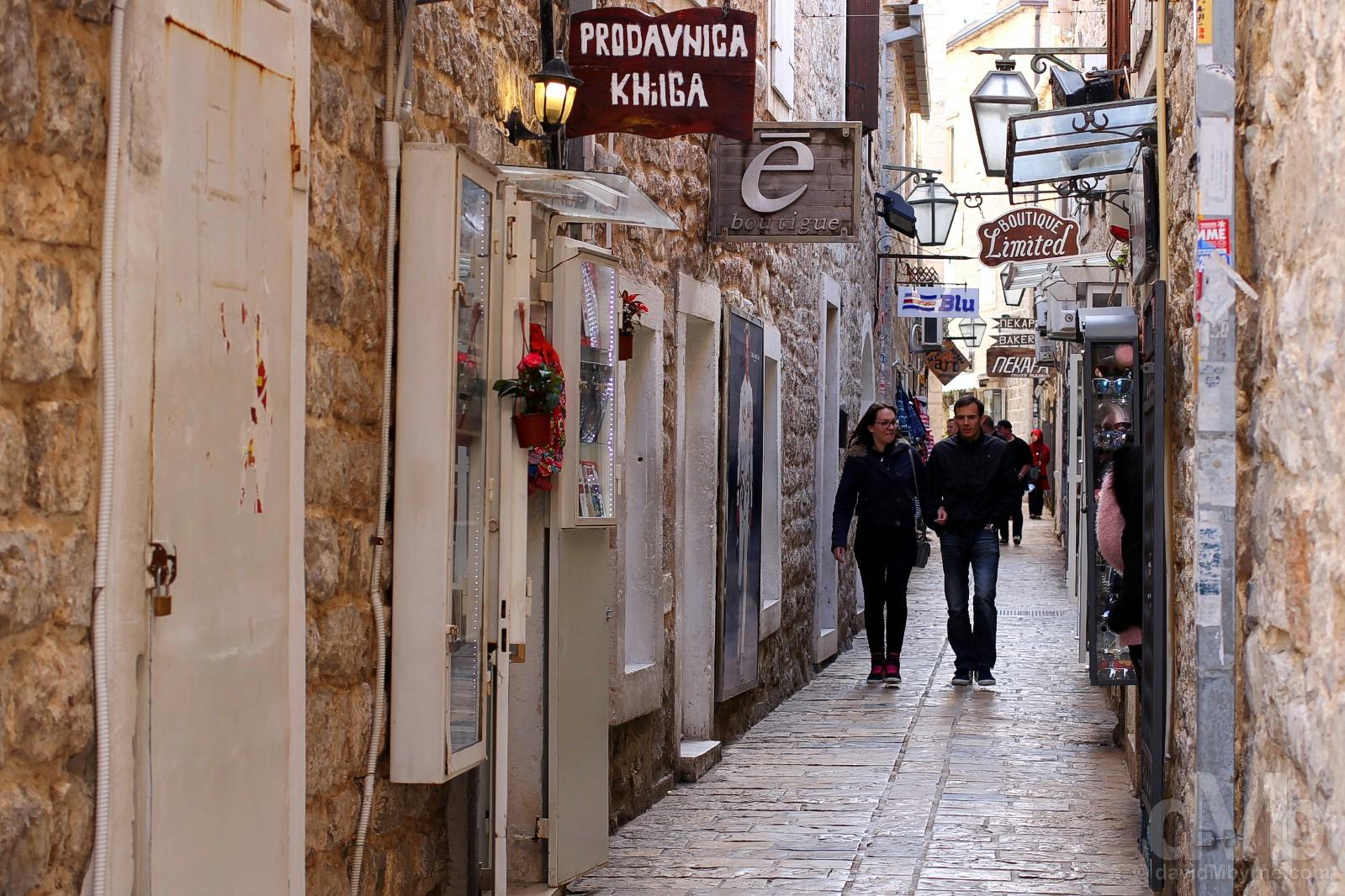 In the tight Venetian-built lanes of Stari Grad (Old Town), Budva, Montenegro. April 20, 2017.