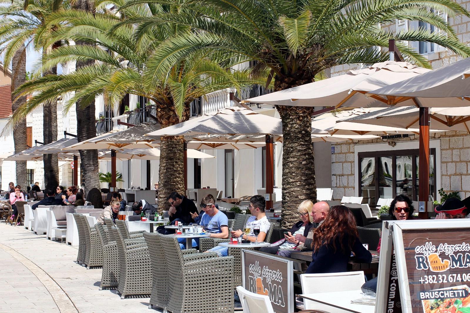 Cafes on Abala Marsala TIta, Porto Montenegro, Montenegro. April 20, 2017.