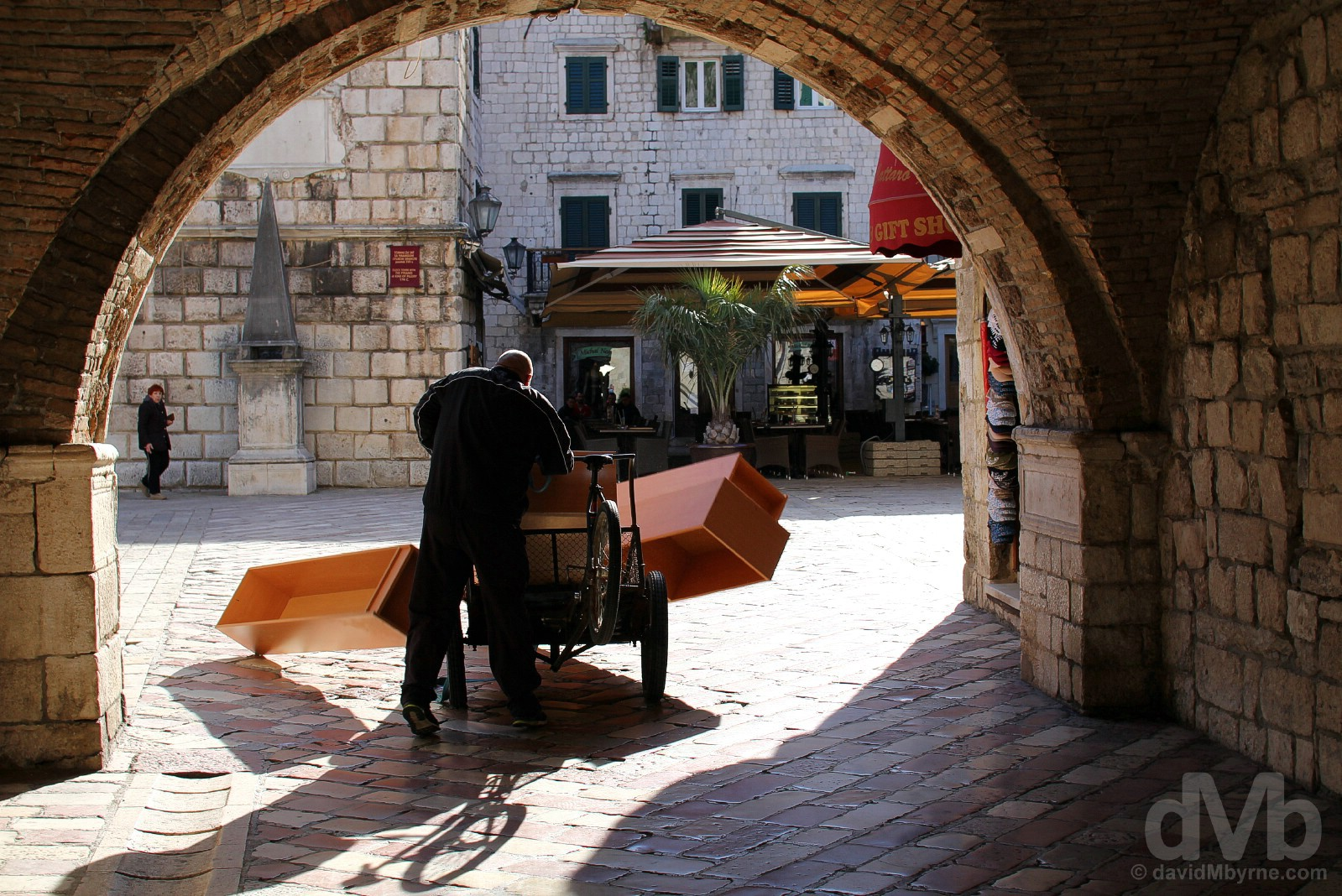 Passing through the 1555 Sea/West Gate into Trg od Oruzja (Arms Square) of Stari Grad (Old Town) Kotor, Montenegro. April 20, 2017.