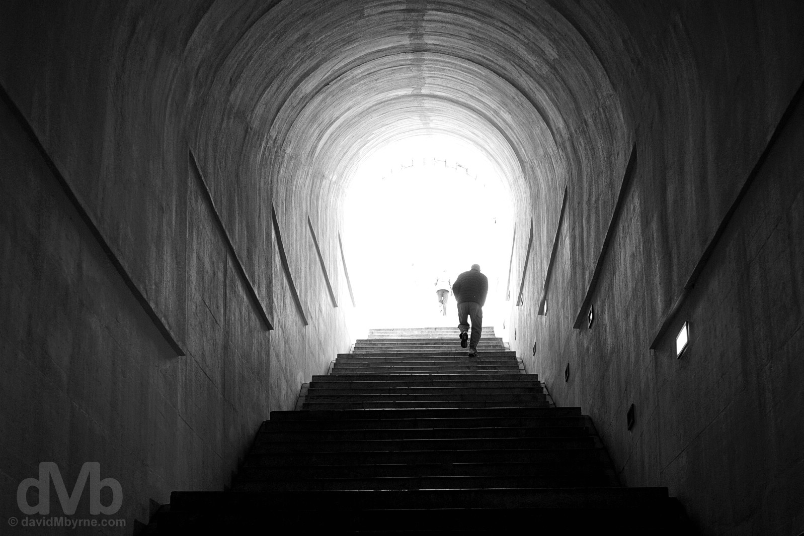 Towards the light. Tackling the 461 steps to Njegos Mausoleum, the world's highest, in Lovcen National Park, Montenegro. April 20, 2017.