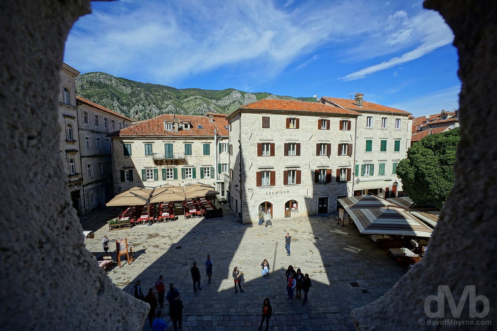 Trg sv. Tripuna (St. Tryphon's Square) as seen from the Cathedral of St. Tryphon, Stari Grad (Old Town), Kotor, Montenegro. April 20, 2017.