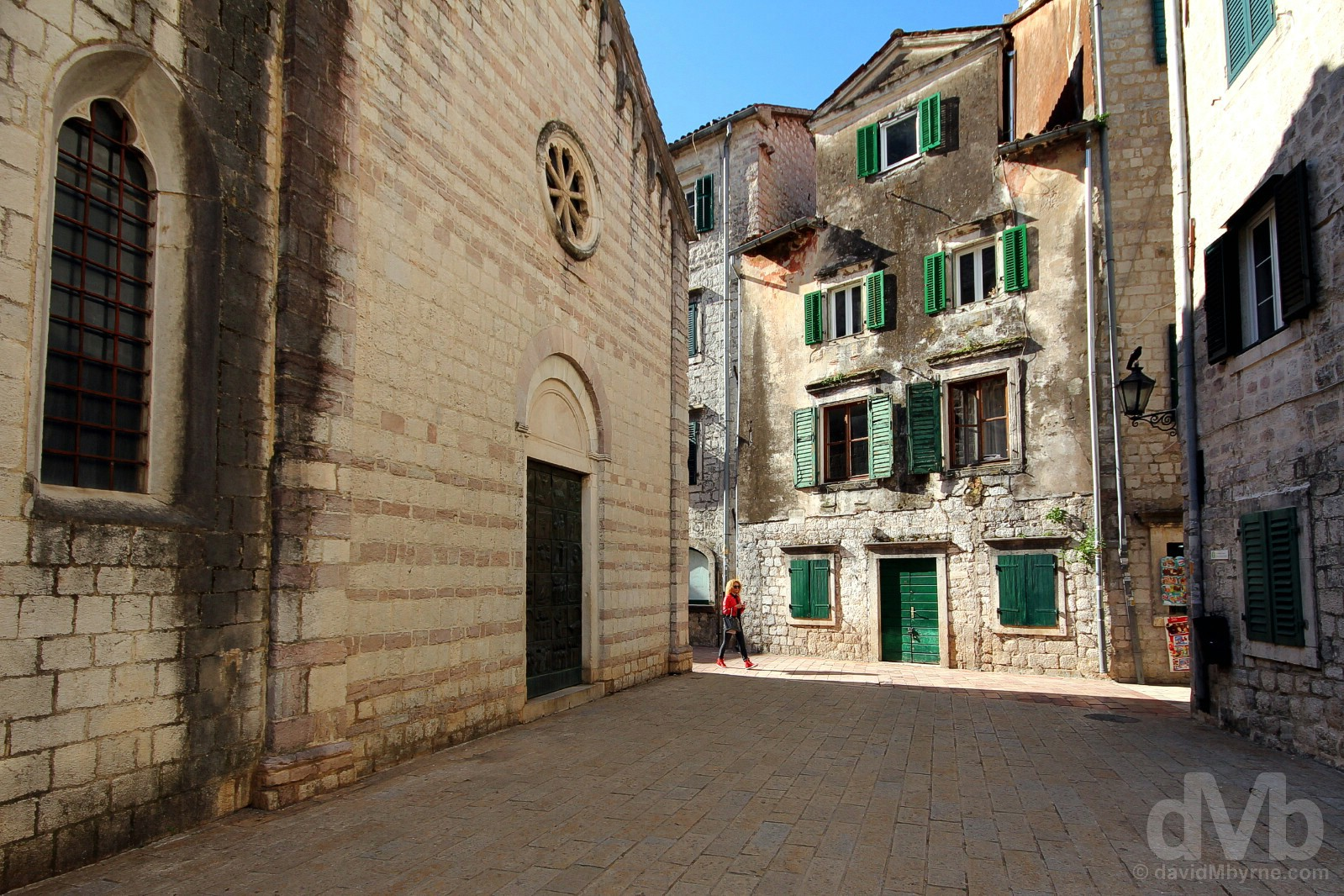 Off Trg od Drva (Tree Square) in Stari Grad (Old Town), Kotor, Montenegro. April 20, 2017.
