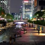 After dark by the Cheonggyecheon Stream in Seoul, South Korea. July 26, 2017.