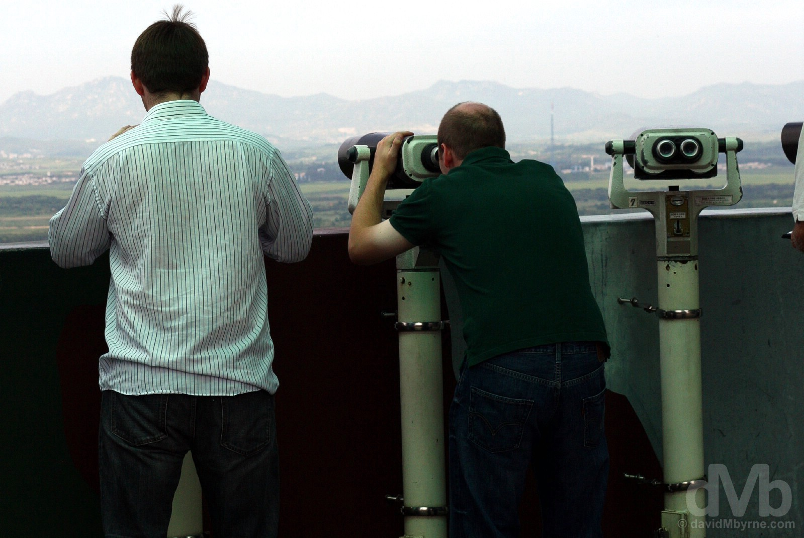 Peering into North Korea from the Dora Observatory of the Demilitarized Zone (DMZ), South Korea. August 21, 2009.