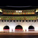 Gwanghwamun Gate, the restored main gate of Gyeongbokgung Palace in Seoul, South Korea. July 26, 2017.