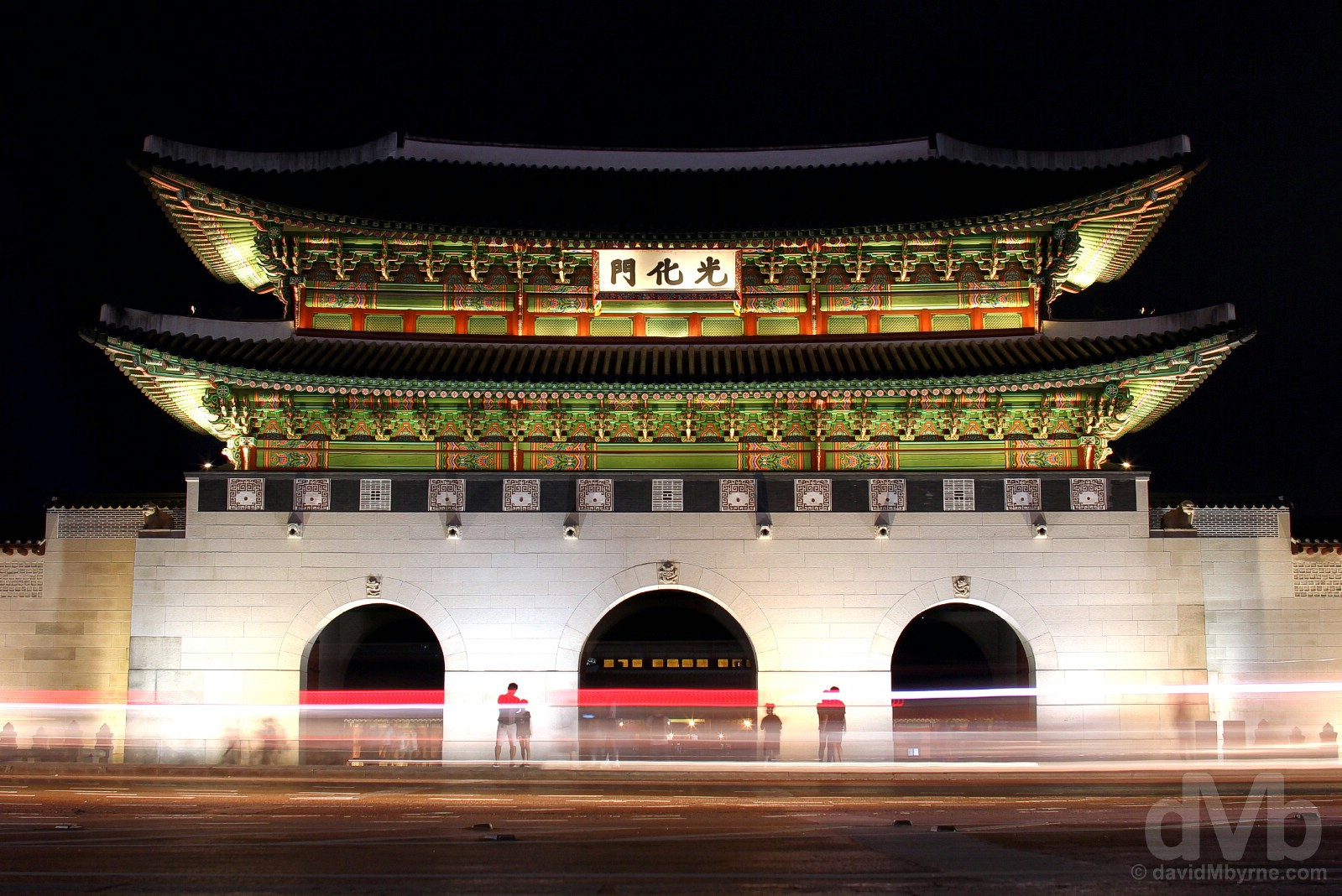 Gwanghwamun Gate, the restored main gate of Gyeongbokgung Palace in Seoul, South Korea. July 26, 2017.