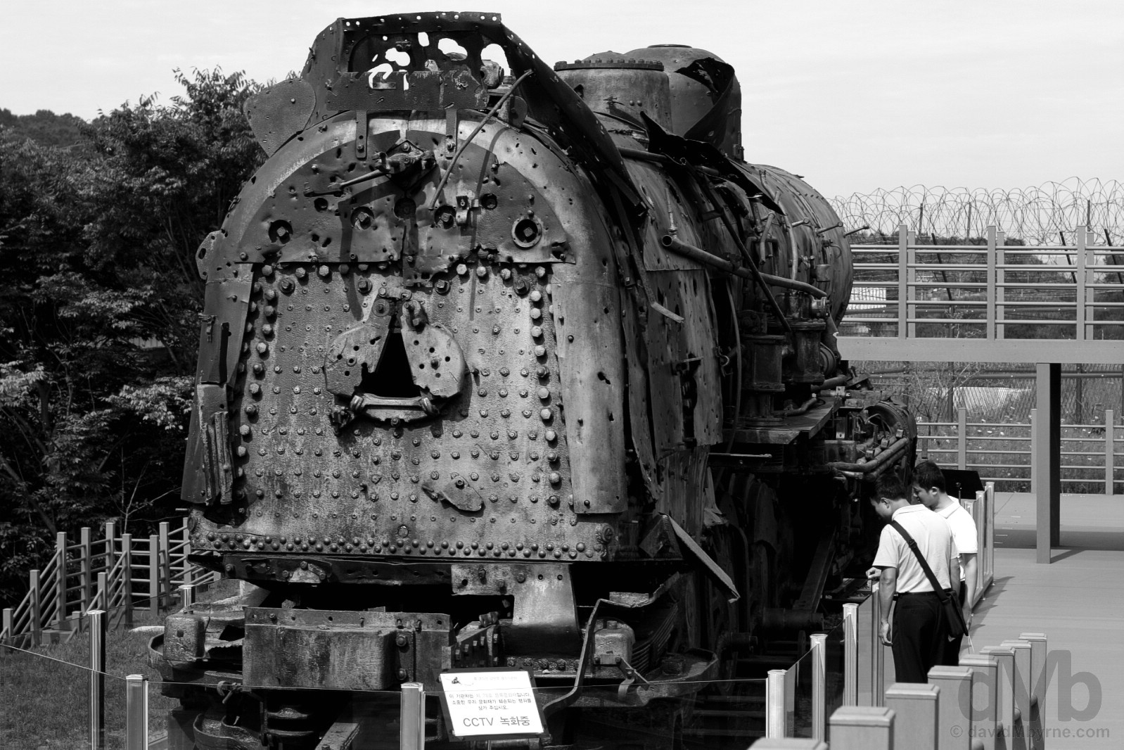 The discarded steam locomotive, a rusting remnant of the 1950-1953 Korean War, by the Bridge of Freedom of the Demilitarized Zone (DMZ) at Imjingak, South Korea. August 21, 2009.