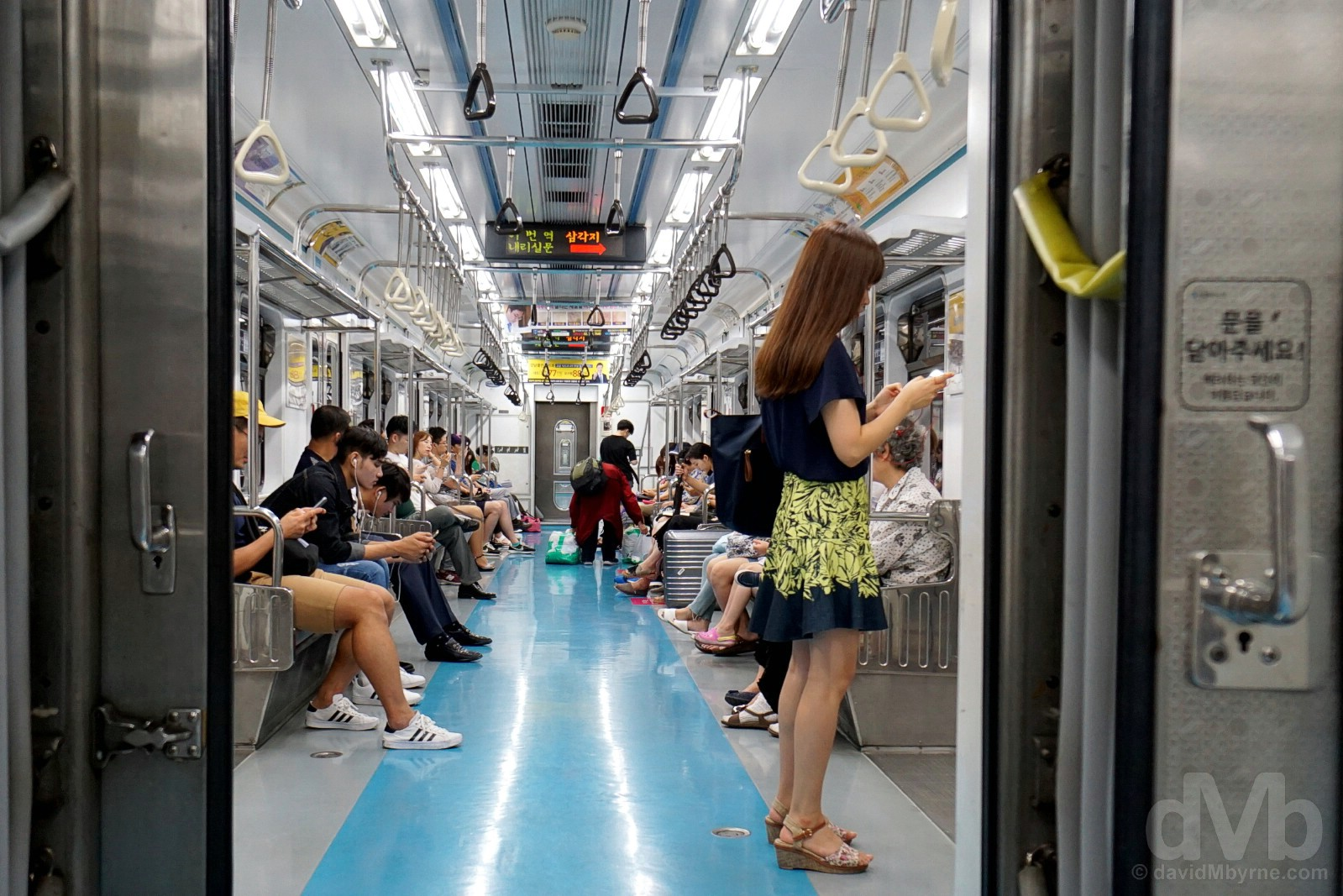 Riding the metro somewhere under the streets of Seoul, South Korea. July 29, 2017.