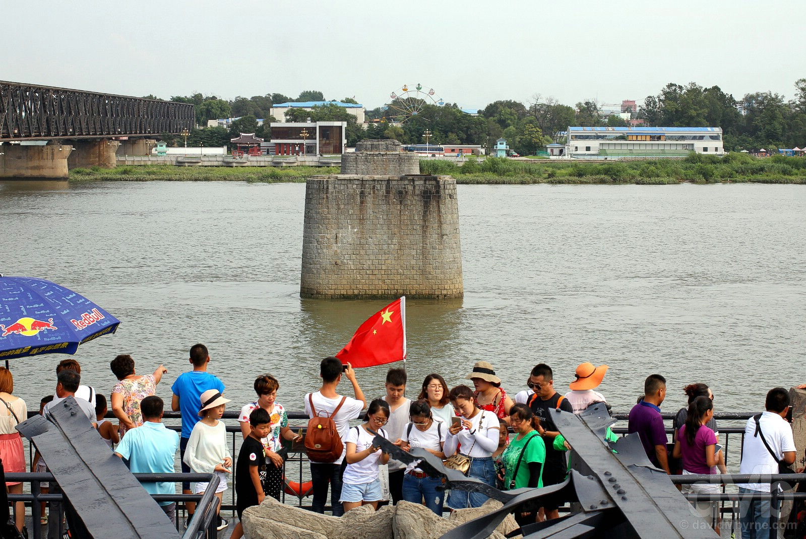 At the end of the Broken Bridge of the Yalu River in Dandong, Liaoning province, China. August 13, 2017.