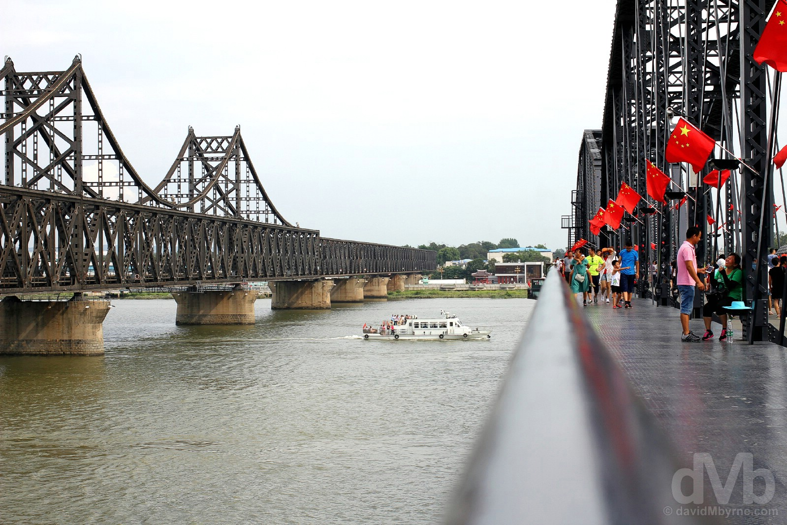 As seen from the Broken Bridge of the Yalu River in Dandong, Liaoning province, China. August 13, 2017.