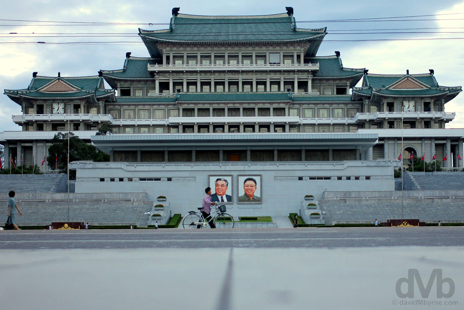 The Grand People's Study House as seen from across the expanse of Kim Il-sung Square in Pyongyang, North Korea. August 14, 2017.